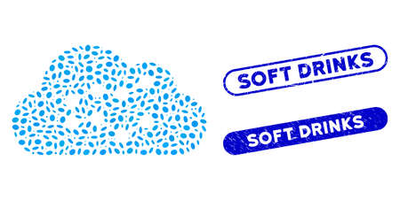 Collage cloud charts and corroded stamp seals with Soft Drinks text. Mosaic vector cloud charts is composed with random ellipse dots. Soft Drinks stamp seals use blue color,