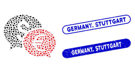 Mosaic currency transfer chat and rubber stamp seals with Germany, Stuttgart phrase. Mosaic vector currency transfer chat is created with random oval parts. Germany, Ilustracja