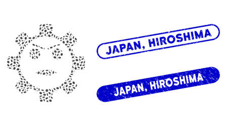 Mosaic gear angry smiley and grunge stamp seals with Japan, Hiroshima text. Mosaic vector gear angry smiley is created with randomized elliptic dots. Japan, Hiroshima stamp seals use blue color,