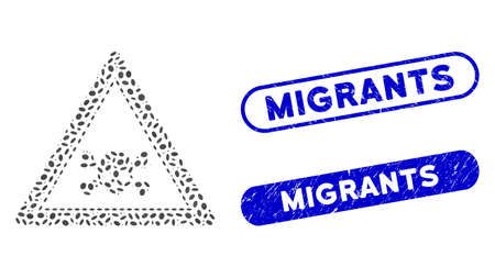 Mosaic skull death triangle and distressed stamp seals with Migrants text. Mosaic vector skull death triangle is formed with scattered oval dots. Migrants stamp seals use blue color, Illustration