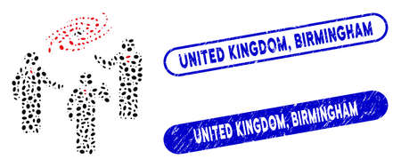 Mosaic space chat and corroded stamp seals with United Kingdom, Birmingham caption. Mosaic vector space chat is designed with randomized oval items. United Kingdom,