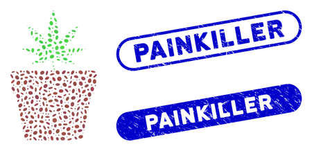 Mosaic cannabis pot and corroded stamp seals with Painkiller phrase. Mosaic vector cannabis pot is created with randomized elliptic items. Painkiller stamp seals use blue color,
