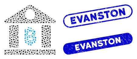 Mosaic Bitcoin bank building and grunge stamp seals with Evanston text. Mosaic vector Bitcoin bank building is formed with scattered ellipse elements. Evanston stamp seals use blue color,