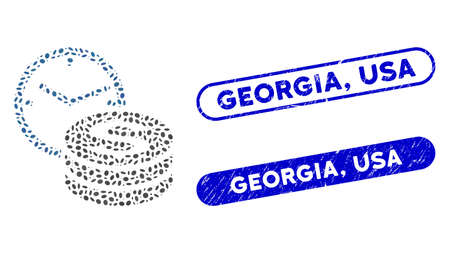Mosaic credit and distressed stamp seals with Georgia, USA text. Mosaic vector credit is designed with random oval spots. Georgia, USA stamp seals use blue color, and have round rectangle shape.