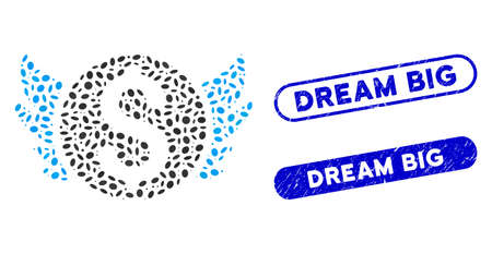 Mosaic angel investment and corroded stamp seals with Dream Big text. Mosaic vector angel investment is formed with randomized elliptic elements. Dream Big stamp seals use blue color,