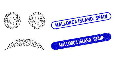 Mosaic sad bankrupt smiley and distressed stamp watermarks with Mallorca Island, Spain text. Mosaic vector sad bankrupt smiley is designed with scattered oval elements. Mallorca Island,
