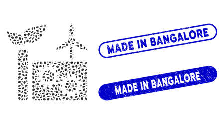 Mosaic eco plant and rubber stamp seals with Made in Bangalore text. Mosaic vector eco plant is designed with randomized elliptic spots. Made in Bangalore stamp seals use blue color, Ilustración de vector