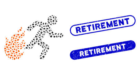 Mosaic fired running man and corroded stamp watermarks with Retirement caption. Mosaic vector fired running man is created with scattered oval items. Retirement stamp seals use blue color,