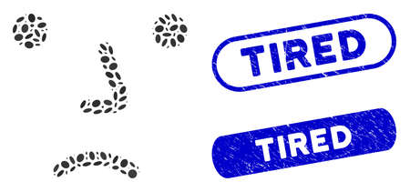 Mosaic bored and grunge stamp seals with Tired phrase. Mosaic vector bored is designed with randomized elliptic elements. Tired seals use blue color, and have round rectangle shape. Ilustração