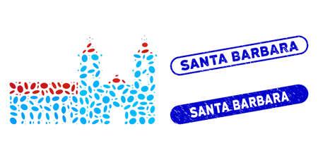 Mosaic Santa Barbara mission and corroded stamp seals with Santa Barbara caption. Mosaic vector Santa Barbara mission is formed with scattered elliptic dots. Santa Barbara stamp seals use blue color,