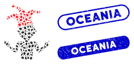 Collage sarcasm and corroded stamp seals with Oceania text. Mosaic vector sarcasm is composed with scattered elliptic items. Oceania stamp seals use blue color, and have rounded rectangle shape. Illustration