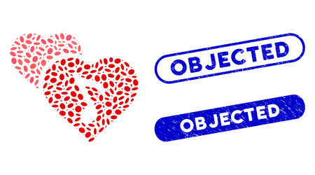 Mosaic romance and distressed stamp seals with Objected caption. Mosaic vector romance is composed with randomized ellipse items. Objected stamp seals use blue color, and have round rectangle shape. Illustration