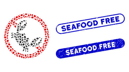 Mosaic seafood free and corroded stamp seals with Seafood Free text. Mosaic vector seafood free is composed with random ellipse dots. Seafood Free stamp seals use blue color,  イラスト・ベクター素材