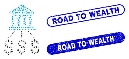 Mosaic bank scheme and rubber stamp seals with Road to Wealth phrase. Mosaic vector bank scheme is designed with scattered ellipse items. Road to Wealth stamp seals use blue color,