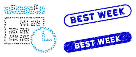 Mosaic date and time and grunge stamp watermarks with Best Week text. Mosaic vector date and time is composed with randomized oval spots. Best Week stamp seals use blue color,