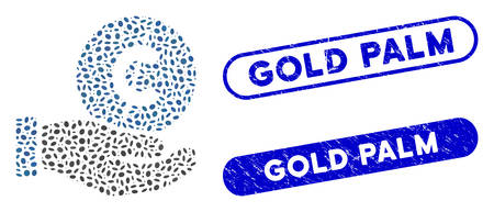 Mosaic cent payment hand and corroded stamp seals with Gold Palm text. Mosaic vector cent payment hand is designed with randomized elliptic dots. Gold Palm stamp seals use blue color,