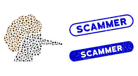 Mosaic liar and corroded stamp seals with Scammer phrase. Mosaic vector liar is composed with scattered ellipse spots. Scammer stamp seals use blue color, and have round rectangle shape.