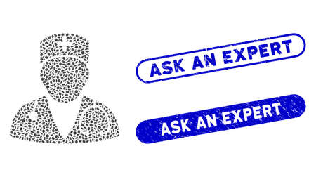 Mosaic doctor and rubber stamp seals with Ask an Expert phrase. Mosaic vector doctor is designed with scattered ellipse pieces. Ask an Expert stamp seals use blue color,