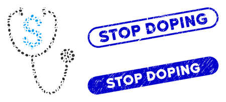 Mosaic dollar health and grunge stamp watermarks with Stop Doping text. Mosaic vector dollar health is created with random elliptic elements. Stop Doping stamp seals use blue color,