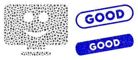 Mosaic display smile and grunge stamp seals with Good phrase. Mosaic vector display smile is formed with random elliptic dots. Good stamp seals use blue color, and have round rectangle shape.