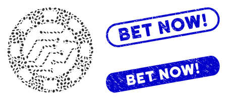 Mosaic digital casino chip and grunge stamp seals with Bet Now! text. Mosaic vector digital casino chip is composed with randomized ellipse parts. Bet Now! stamp seals use blue color,