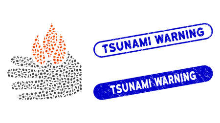 Mosaic burn hand and distressed stamp seals with Tsunami Warning text. Mosaic vector burn hand is composed with scattered oval parts. Tsunami Warning stamp seals use blue color,