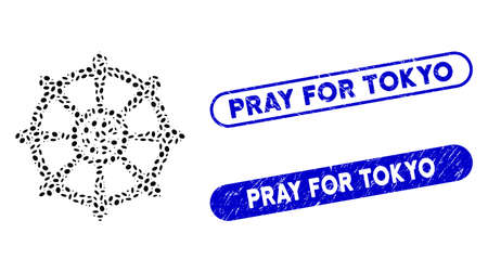 Mosaic dharma wheel and rubber stamp watermarks with Pray for Tokyo phrase. Mosaic vector dharma wheel is designed with scattered elliptic spots. Pray for Tokyo stamp seals use blue color,