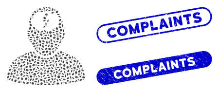 Mosaic brainstorm and distressed stamp seals with Complaints phrase. Mosaic vector brainstorm is created with random elliptic dots. Complaints stamp seals use blue color, Stock Illustratie