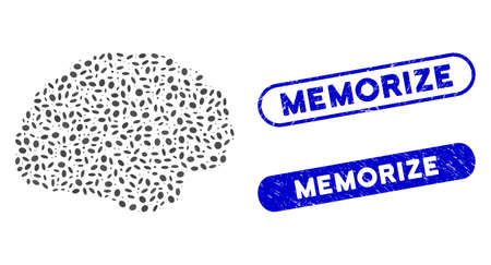 Mosaic brain and distressed stamp seals with Memorize caption. Mosaic vector brain is formed with randomized elliptic elements. Memorize stamp seals use blue color, and have round rectangle shape.