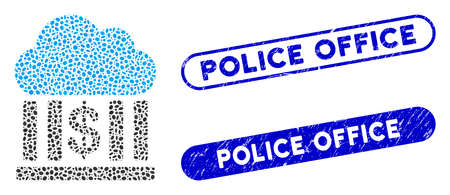 Mosaic cloud bank and grunge stamp seals with Police Office caption. Mosaic vector cloud bank is designed with randomized ellipse items. Police Office stamp seals use blue color,