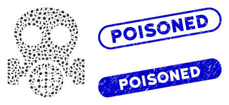 Mosaic gas mask and grunge stamp seals with Poisoned caption. Mosaic vector gas mask is formed with scattered ellipse pieces. Poisoned stamp seals use blue color, and have round rectangle shape.
