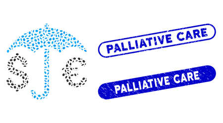 Mosaic financial protection and corroded stamp seals with Palliative Care text. Mosaic vector financial protection is designed with randomized elliptic parts.