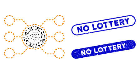 Collage casino chip circuit and corroded stamp seals with No Lottery phrase. Mosaic vector casino chip circuit is composed with randomized ellipse items. No Lottery stamp seals use blue color,