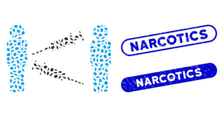 Mosaic men syringe exchange and distressed stamp seals with Narcotics phrase. Mosaic vector men syringe exchange is formed with random elliptic items. Narcotics stamp seals use blue color, 向量圖像