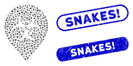 Collage biohazard marker and distressed stamp watermarks with Snakes! caption. Mosaic vector biohazard marker is formed with random ellipse items. Snakes! stamp seals use blue color,