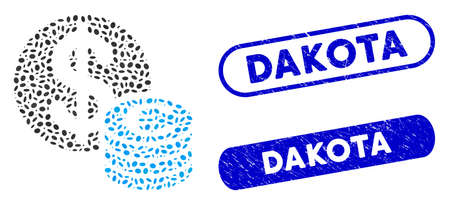 Mosaic Euro and Dollar coins and distressed stamp seals with Dakota phrase. Mosaic vector Euro and Dollar coins is composed with randomized ellipse spots. Dakota seals use blue color,
