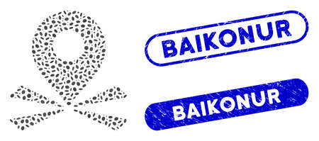 Mosaic marker position and grunge stamp seals with Baikonur phrase. Mosaic vector marker position is composed with randomized elliptic spots. Baikonur stamp seals use blue color, Ilustración de vector
