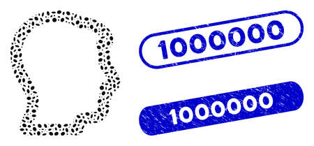 Mosaic head profile and distressed stamp seals with 1000000 text. Mosaic vector head profile is designed with scattered oval parts. 1000000 stamp seals use blue color, and have round rectangle shape.