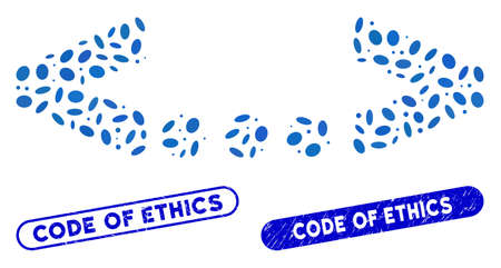 Mosaic inline code and grunge stamp seals with Code of Ethics text. Mosaic vector inline code is composed with scattered elliptic dots. Code of Ethics stamp seals use blue color,