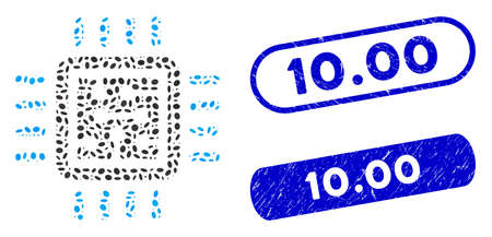 Mosaic CPU circuit and distressed stamp watermarks with 10.00 caption. Mosaic vector CPU circuit is designed with randomized elliptic spots. 10.00 stamp seals use blue color, Иллюстрация