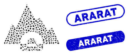 Mosaic mountain tunnel and distressed stamp watermarks with Ararat phrase. Mosaic vector mountain tunnel is composed with random oval items. Ararat stamp seals use blue color, Ilustração