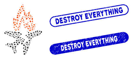 Mosaic airplane burn and corroded stamp seals with Destroy Everything phrase. Mosaic vector airplane burn is formed with randomized oval spots. Destroy Everything stamp seals use blue color,