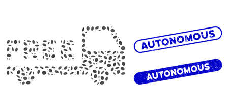 Mosaic free delivery and distressed stamp seals with Autonomous caption. Mosaic vector free delivery is composed with scattered elliptic dots. Autonomous stamp seals use blue color,
