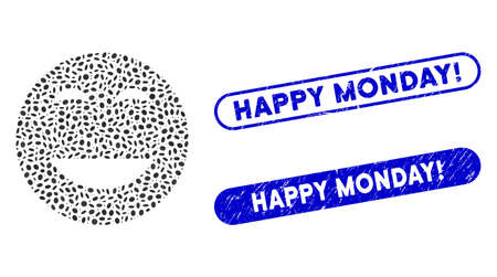 Mosaic glad smiley and grunge stamp seals with Happy Monday! caption. Mosaic vector glad smiley is designed with scattered elliptic items. Happy Monday! stamp seals use blue color,