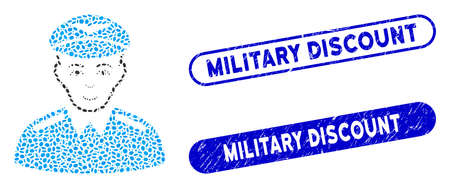 Mosaic aviator and distressed stamp seals with Military Discount phrase. Mosaic vector aviator is designed with randomized ellipse items. Military Discount stamp seals use blue color,