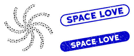 Mosaic galaxy and rubber stamp seals with Space Love phrase. Mosaic vector galaxy is created with randomized ellipse spots. Space Love stamp seals use blue color, and have round rectangle shape. Ilustración de vector