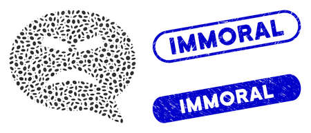 Mosaic furious smiley message and corroded stamp seals with Immoral caption. Mosaic vector furious smiley message is designed with randomized ellipse items. Immoral stamp seals use blue color, Banco de Imagens - 140360194