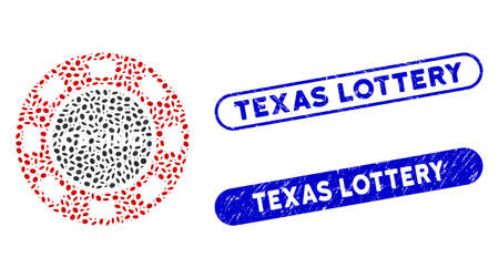 Mosaic casino chip and corroded stamp seals with Texas Lottery text. Mosaic vector casino chip is composed with random ellipse spots. Texas Lottery stamp seals use blue color, Ilustracja