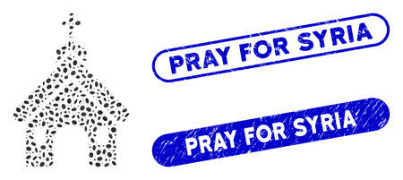 Mosaic church and grunge stamp seals with Pray for Syria phrase. Mosaic vector church is formed with randomized elliptic items. Pray for Syria stamp seals use blue color,
