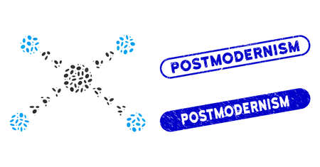 Mosaic dotted links and distressed stamp seals with Postmodernism phrase. Mosaic vector dotted links is composed with randomized elliptic parts. Postmodernism seals use blue color, Ilustração